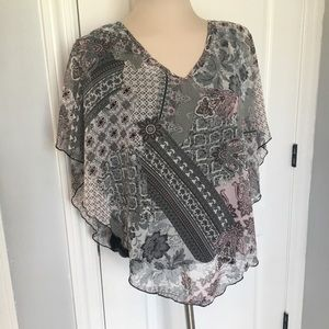 2X Lavish Poncho Style Blouse with Built-In Tank